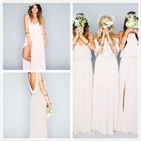 Wholesale 2017 New V Neck Chiffon Long Bridesmaid Dresses Loose Mumu Bohemian Floor Length Summer Beach Wedding Party Evening Dresses