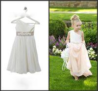 big girl bridesmaid dresses - Cheap Girls Chiffon Dresses A Big Bow One shoulder Floor Length Little Kids Bridesmaid Dresses Formal Wear