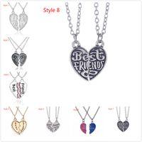 Pendant Necklaces Casual Women's Fashion Handmade Personalized Name Necklace Women Crystal Necklace Stone 2 Parts Set Broken Heart Best Friends Friendship Pendant Necklaces
