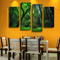 beautiful forest pictures - 4 Panel Beautiful The Forest Green Trees Large HD Picture Modern Wall Decor Canvas Print Painting oil For Home Decorate Unframed