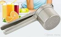 Wholesale Hand Manual Juicer Fruit Vegetable Squeezer Reamer presses Presser Potato Masher Mirror Polished SUS316