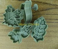Wholesale 50sets kit DIY Tree leaf Cookies Cutter Spring Pressing Mould Fondant Mold Cake Decorating Tools