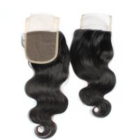 Wholesale Brazilian Body Wave Top Lace Closure x4 inch Brazilian Unprocessed Human Hair Lace Closure Bleach Knot Free Part Middle Three Part Closures