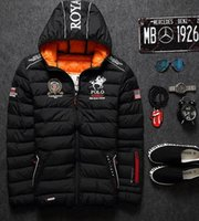 Wholesale mens winter warm downs jacket brand Thick cotton embroidery men down parka coat printing black Outdoor fashion sport hooded