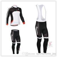 santini - HOT Santini Team winter Fleece cycling jersey long sleeve Cycling clothing bib Pants Set winter thermal fleece cycling clothing