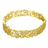 Wholesale Lucky Clouds Hollow Auspicious Bracelet Diameter CM Flower Pattern Gold Rose Gold Simple Foregion Explosions Christmas Gift on