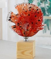 art of table - fish statue lucky glass fish arts home table decorations fish design animal figurine kissing fish gift