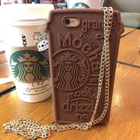 handbag silicone - New Style Brand Starbucks Coffee Cup Case D Silicone Soft Cases Fashion Shell Back Cover With metal chain for iphone s SE s plus
