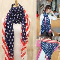 american flag apparel - High Quality Silk Chiffon American Flag Pattern Scarf cm Long Sunscreen Shawl Women Beach Bohemian Scarves Apparel Accessories