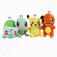 Wholesale Poke Plush Toys cm Pikachu Bulbasaur Squirtle Charmander Cartoon Anime Action Toy Set designs Stuffed Soft Doll OOA644
