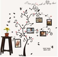 Wholesale Kiss Bird Tree Heart Leaves Black Photo Picture Frame Decal Removable Wall Decals Large Wall Stickers for Living Room Bedroom
