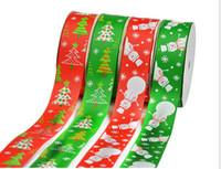 Wholesale 25 MM M Christmas tree Santa printing DIY braided gift packaging wedding arrangement headflower accessories Screw thread ribbon E424