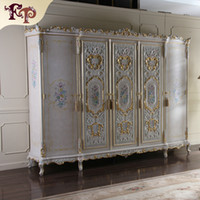 No antique wood finish - High end classic furniture Antique bedroom furniture luxury hand carved wardrobe solid wood frame finished in cracking paint