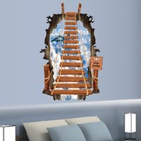 Wholesale Stair To The Sky d Wall Stickers Mural Children s Bedroom Wallpaper cm Cartoon Fashion Creative Personality Art Wall Ladder