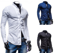 Wholesale new high quality solid color cotton long sleeved business shirt collar popular male T shirt Slim casual shirt men clothing