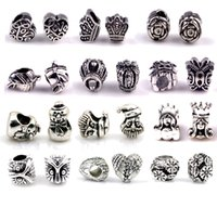 pandora style beads - S925 silver pandora charms for bracelets DIY jewlery making European big hole loose beads mixed pandora styles fashion jewelry bulk