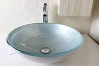 Wholesale clear tempered glass basins for bathrooms lavabo glass basin glass sink bowl N
