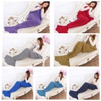 Wholesale Mermaid Blanket Air condition Knit Blanket Mermaid Tail Crochet Blanket Super Soft Warmer Blanket Bed Sofa Costume LJJL166