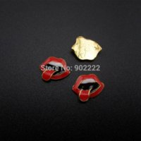 Wholesale AMN015 Gold plated mouth nail designs d nail art charms scrapbooking diy phone decoration decor