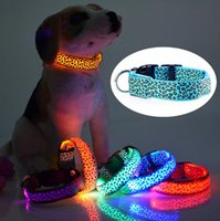 animal print leopard necklace - Fashion Sexy Leopard printed design Colorful LED polyester Pet Dog Collar Safety LED Light up Flashing Glow necklace Dog Collars Free DHL