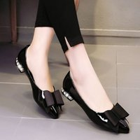 belle toe - BELLE crystal Korean Blazer flat shoes pointed bow leather shoes with low shallow mouth