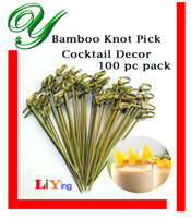 appetizers drinks - 100pc Bamboo Knotted Skewers cocktail muddler drink stirrers food fruit toothpicks fork appetizer decoration party supplies bbq brochette