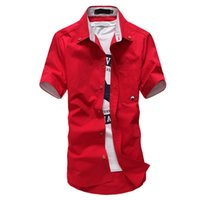 Wholesale Summer Shirt Men Korean Fashion Cotton Plus Size XL Slim Casual Men Short Sleeve Shirts New Camisa Masculina High Quality