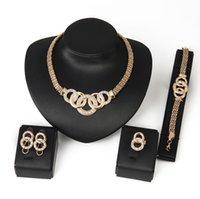 Wholesale Top Quality K Gold Plated Chunky Chain Statement Necklace Earrings Bracelet Ring Set For Women Crystal Wedding Jewelry Sets