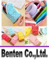 Wholesale New Arrive Stationery Multifunctional big capacity pencil case Dot school bag pattern Cute storage box LLFA