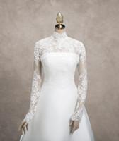 Wholesale Luxury Ivory Lace Bridal Jacket Boleros Sheer High Neck Fashionable Elegant Wedding Bridal Jackets Applique Long Sleeve Real Image