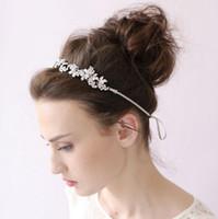 beaded cluster - 2016 Bridal Tiaras Beaded Leaf Cluster Headband Hairpin Beaded Silver Hair Vine Wedding Headpiece Bride Hair Accessories Headpieces
