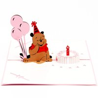 bear origami - Cute Bear with balloon origami paper arts and crafts d laser cut birthday postcards greeting cards P