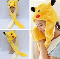 Wholesale Soft Pikachu Hat - Adult Plush Pikachu Hats Animal Cartoon Soft Warm Hats Long Scarf+Hat+Gloves Winter Caps Punk Style PPA480