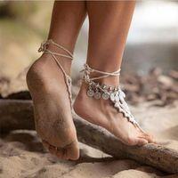Wholesale 2016 Women s Silver Bohemian Boho Turkish Coin Anklet Ankle Bracelet Barefoot Sandal