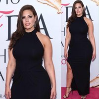 ashley fashion - evening dresses long Ashley Graham Plus Size Black Slit Celebrity Prom Dress CFDA floor length party dresses