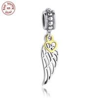 al por mayor esterlina colgante de collar de alas de ángel-3pcs mucho auténtico 925 encantos de plata esterlina pendiente ángel alas pluma europea granos aptos Pandora pulsera brazalete collar DIY joyería