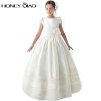 Wholesale 2016 White Girls Flower Dress Crew Short Sleeve Beading Flower Satin First Communion Dresses Ball Gown Kids Evening Gowns