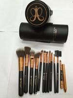 barrel brush - 12pcs Anastasia Makeup Brushes Sets Professional Anastasia Beverly Makeup eye brow foundation blush eyeshadow Brush with Leather Barrel
