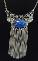 agate pendant free shipping - New silver ox filigree horn tassel necklace with blue agate retro boho style