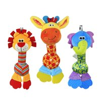 Wholesale 1pc Soft Baby Toy cm Cartoon Animal Teether Rattle Squeaker BB Sounder Early Educational brinquedos juguetes