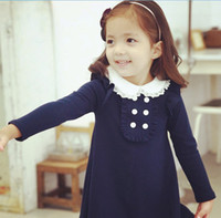 baby pan - Hot Sell New Arrival Summer Baby Girls Dresses Kids Clothes Long sleeve Dress Peter Pan Collar Children Clothing Vestidos