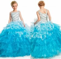 Wholesale 2016 New Arrival Pink Little Rosie Sequins Beaded Crystals Girls Pageant Dresses Square Neck Organza Ball Gowns Flower dresses Kids Teens
