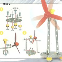 Wholesale 33 Windmill Puzzle Metal Alloy Assembled Toy DIY Handmade Children s Toys Model