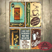 art item cottons - Vintage wall sticker coffee Tin Sign Art Metal Poster Bar Club wall Decor home decoration items F