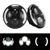 Wholesale 7inch Round W Hi Lo Beam Cree LED Driving Light Headlights Insert with DRL Turn Signal Halo Ring Angle Eyes for Jeep Wrangler