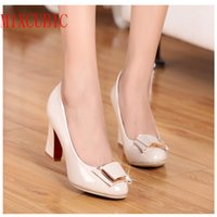 ankle wrap large - 2016 spring new large size shoes shallow mouth thick with patent leather dress shoes work shoes career women s singles shoes high heeled sh