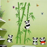 bamboo vinyl wall decals - 2016 New Arrival Home Decor PVC Wall Sticker Removable Cute Panda Eating Bamboo Living Room Wallpaper Decoration Art Decals