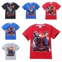 kids cartoon clothing - Boys Cartoon T shirts Batman VS Superman Kids Short Sleeve Summer Tee Shirts Captain American Kids Cartoon TShirts Cotton Kids Clothes hot