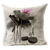 ancient chinese homes - Chinese Ink Painted Lotus Pillow Case Restore Ancient Ways Chinese Style Cushion Cover Health Linen Cotton Home Textiles