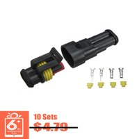 Wholesale 10sets New Car Part Pin Way Sealed Waterproof Electrical Wire Auto Connector Plug Set SHIPPING